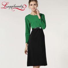 Autumn New Brand Women Work Dress Elegant Belted Long Sleeve Business Formal High Waist Patchwork Midi Dress Longqibeauty