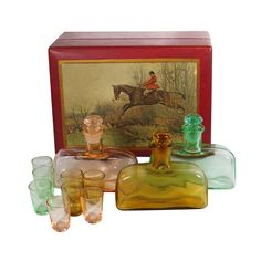 Vintage 1930s Paden City Tantalus Betty Mae Cordial Decanter Set Original Wood Box offered by Ruby Lane Shop Alley Cats Vintage
