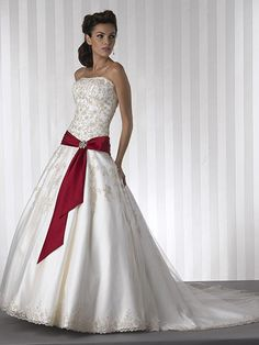Red Wedding Dresses | Beautiful Strapless Wedding Gown Featured with Red Belt Designs ...