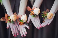 Beautiful rose wrist corsages in shades of Autumn/Winter. Florals by Campbells Flowers - http://www.campbellsflowers.co.uk.  Photography by  http://lifelinephotography.co.uk/