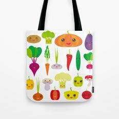 Kawaii vegetables peppers, pumpkin beets carrots, eggplant, red hot peppers, cauliflower, broccoli Tote Bag