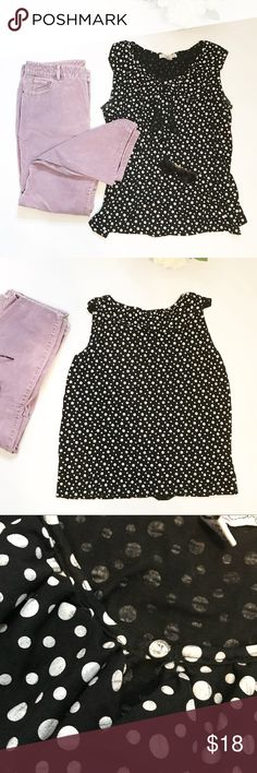 ⭐️ NEW ARRIVAL Polka Dot Sleeveless Top Ruffles This cute polka dot top can take you from office to summer sunshine! Ruffles down the front look great with a cardigan or strip off the layers and rock some colored shorts for a casual look. Small rhinestone at the neckline for accent.   020118 French Laundry Tops Tank Tops