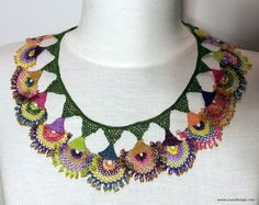 Necklace - Beaded Necklace - Beaded Crochet Neckalce - Knotted Crochet Necklace - Needle Lace