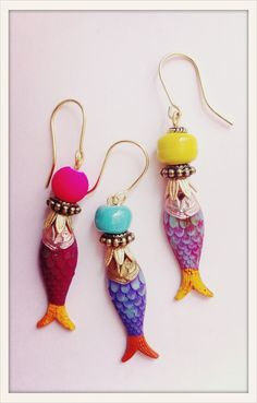 Handpainted Fish-Earrings, by Mimi Scholer