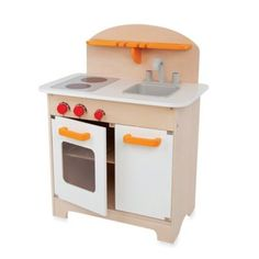 The Hape Gourmet Kitchen lets your child play head chef in their own petite kitchen area. Watch as they imitate your motions and