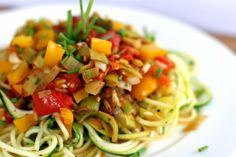 Zucchini Pasta with roasted leek and tomato sauce.