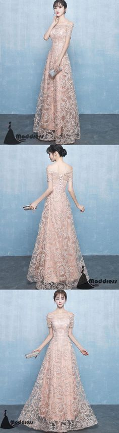 Elegant Lace Long Prom Dress Off the Shoulder Evening Dress A-Line Pink Formal Dress,HS510 #prom #promdress #promdresses #longpromdress #promgowns #promgown