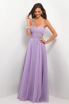 Purple prom dress. Love the beading and the single strap!