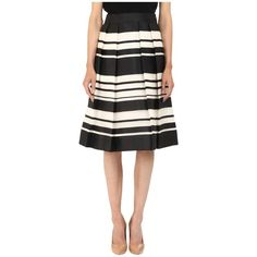 Kate Spade New York Cape Stripe Organza Skirt Women's Skirt ($368) ❤ liked on Polyvore featuring skirts, black, pleated skirt, striped pleated skirt, flared skirt, pocket skirt and high waisted knee length skirt
