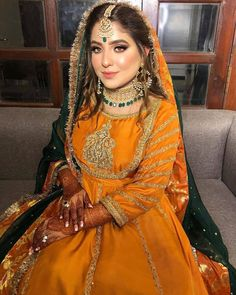Such a stunning bride by Pakistani Mehndi Dress, Pakistani Fashion Party Wear, Pakistani Dresses Casual, Pakistani Wedding Outfits, Pakistani Wedding Dresses, Pakistani Dress Design, Mehendi, Indian Outfits, Asian Bridal Dresses