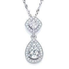Bouton Jewellery Sterling Silver Pear Drop Slider Pendant #wedding #bridal #jewellery #pendant #shadesoftime #bouton