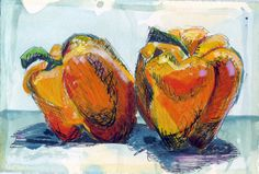 Peppers   mixed media print 5 x 7 by artroomstudios on Etsy, $10.00
