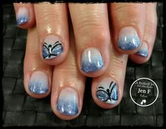 Butterfly ombre nail art