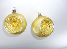Gold Indent Christmas Ornaments Vintage Made in by ChromaticWit