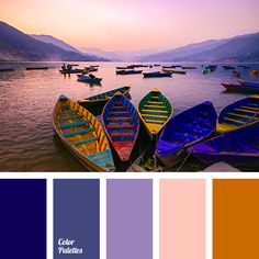 color of sea at sunset, colors of lake, dark blue-purple, dark orange, dark-blue, midnight blue, orange-pink, pink, shades of orange, shades of purple, shades of sunset, Violet Color Palettes.