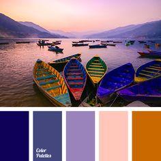 color of sea at sunset, colors of lake, dark blue-purple, dark orange, dark-blue, midnight blue, orange-pink, pink, shades of orange, shades of purple, shades of sunset, Violet Color Palettes.