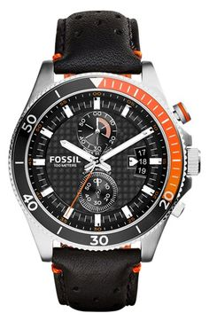 Fossil 'Wakefield' Chronograph Leather Strap Watch, 45mm available at #Nordstrom