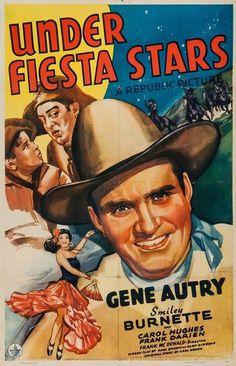Under Fiesta Stars Us Poster Art From Left Frank Darien Smiley Burnette Gene Autry Bottom Front Carol Hughes 1941 Movie Masterprint X