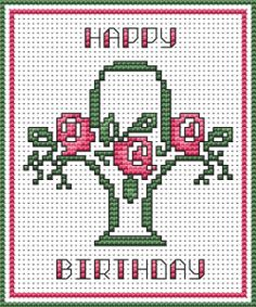 cross stitch card kit for a birthday depicting a birthday cake