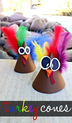 Turkey Cone Craft (Party Hat Idea) #Thanksgiving craft for kids | CraftyMorning.com