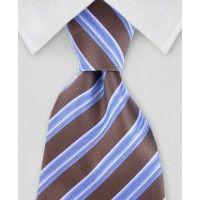 Striped Tie - Tan & Blue