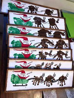 Handprint/Footprint Santa Sleigh Wood Plank - Crafty Morning - Christmas/Winter Crafts for Kids - Handprint/Footprint Santa Sleigh Wood Plank…what a cute christmas craft to give parents! Christmas Crafts For Toddlers, Cute Christmas Gifts, Xmas Crafts, Baby Crafts, Christmas Projects, Christmas Decorations, Grandparents Christmas Gifts, Christmas Handprint Crafts, Christmas Crafts For Kids To Make Toddlers