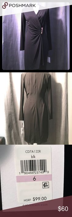Calvin Klein black wrap dress with gold detail This Calvin Klein dress is perfect for the office or a night out. This LBD is made with stretch fabric, a v/neckline, ruched detailing and a back zip closure.  Perfect for the holidays!  95% Polyester 5 % Spandex  New with tags!! Purchased online in October, it's too big and missed my 30-day return window. Calvin Klein Dresses Midi