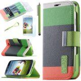 Pandamimi ULAK Colorful PU Leather Wallet Type Magnet Design Flip Case Cover for Samsung Galaxy S4 Galaxy SIV i9500 + Screen Protector + Stylus(Green+Dark Green+Orange) - Pandamimi ULAK Colorful PU Leather Wallet Type Magnet Design Flip Case Cover fo