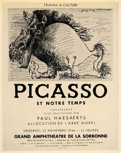 1946 poster for a lecture by Picasso and Haesaert, designed by Picasso