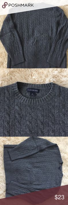 Men's Lands End 100% Cashmere crew sweater Men's size Medium, 100% Cashmere crew neck pullover.  Charcoal gray, cable style.  In terrific condition, no pulls or holes. Lands' End Sweaters Crewneck