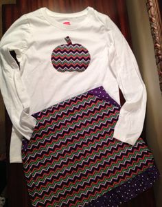 Chevron pumpkin shirt and skirt with pockets on Etsy, $35.00