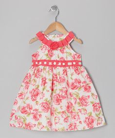 Take a look at this Coral Floral Ribbon Dress - Infant, Toddler & Girls by Donita on #zulily today!