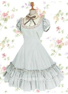 Cheap White Turndown Collar Short Sleeves Knee-length Cotton Sweet Lolita Dress With Vertical Pleats Style Sale At Lolita Dresses Online Shop