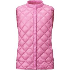 UNIQLO Ultra Light Down Compact Quilted Vest ($19) ❤ liked on Polyvore featuring outerwear, vests, pink, pink down vest, lightweight vest, uniqlo, pink vest and lightweight quilted vest
