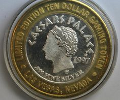 CAESARS PALACE, LAS VEGAS $10 TEN DOLLAR GAMING TOKEN .999 FINE SILVER COIN