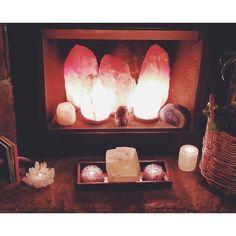 Salt lamp fire place.