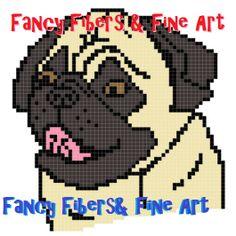 Crochet Pattern Pug Dog Afghan Pillow Graphghan by FiberAndFineArt, $1.99