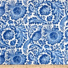 Waverly Tucker Resist Blend Porcelain from @fabricdotcom  Screen printed on linen/rayon blend, this medium/heavyweight fabric is perfect for window accents (draperies, valances, curtains and swags), accent pillows, duvet covers, upholstery and other home decor accents. Colors include blue and white.