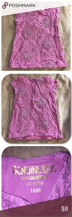 👚Lace Blouse👚 Genuine Kids From Osh Kosh purple lace blouse. Baby girl size 18 months. Outer layer is lace. Soft inner layer. Osh Kosh Shirts & Tops Blouses