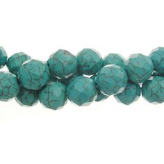 Turquoise Blue 12mm Faceted Howlite Gemstone Bead Strand
