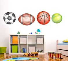 Soccer wall decal, Basketball Sticker, Rugby Wall Decal, Tennis Wall decal, Boys Room Wall Art by LindaWallStickers on Etsy