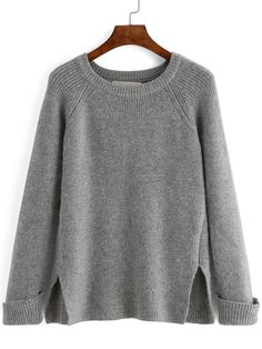 The round neck split sweater,Love the comfy, slouchy sweater,classic sweater style for spring.