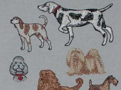 Dogs Machine Embroidery Designs  http://www.designsbysick.com/details/dogs