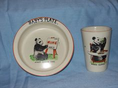 vintage child's bowl and mug set
