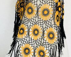 Crochet Poncho | Boho Style Poncho | Hippie Outfit Fashion | Black and Orange Crochet Poncho | Hippie Patchwork |Handmade |100 cotton