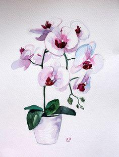 Flower fine art Orchid watercolor art Original watercolor #watercolor #orchid #flowers #art #gifts #painting #watercolorpainting #watercolorart