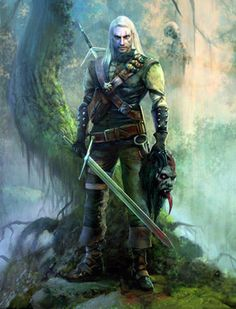 Artwork of Geralt from the 'Witcher' series.