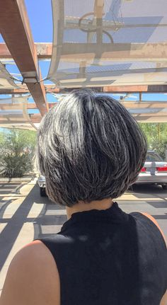 Went for a trim over the weekend. Kept my bangs long, but tapered the back. Grey Hair Don't Care, Grey Curly Hair, Silver Grey Hair, Short Grey Hair, Curly Hair Styles, Silver Haired Beauties, Grey Hair Inspiration, Color Del Pelo, Gray Hair Growing Out