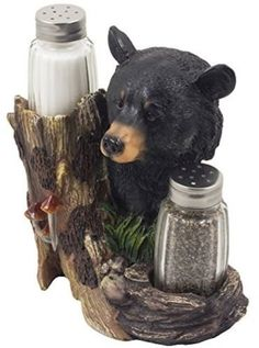 "Amazon.com: Custom & Unique {6.25"" x 6"" Inch} 1 Single, Home & Garden ""Standing"" Figurine Decoration Made of Grade A Resin & Glass w/ Country Black Bear Salt & Pepper Shaker Style {Black, Brown & Green}: Home & Kitchen"