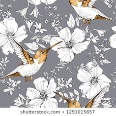 Hibiscus Flowers, Exotic Flowers, Textiles, Disney Wallpaper, Bird Prints, Royalty Free Images, Outdoor Gardens, Illustration, Graphic Art